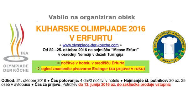 Ponudba za ogled kuharske olimpijade v Erfurtu
