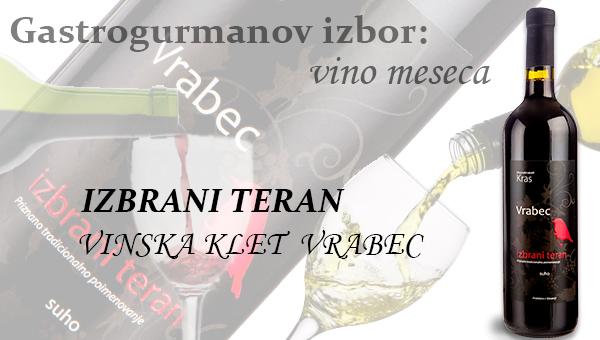 Gastrogurmanov izbor za vino meseca februar: IZBRANI TERAN »VINSKA KLET VRABEC«